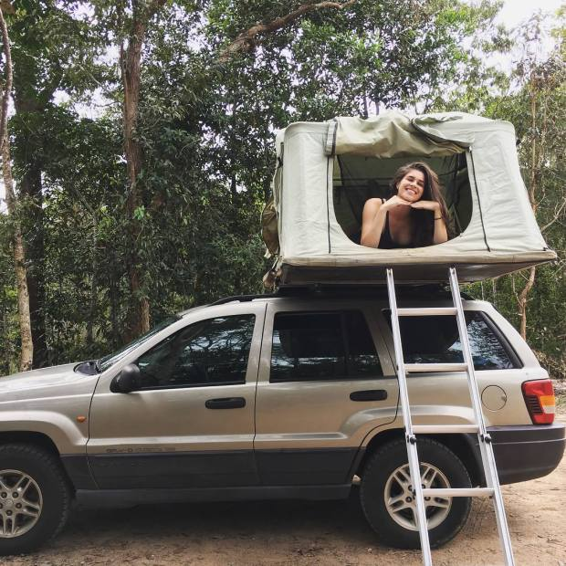 Carolyn in camper van.